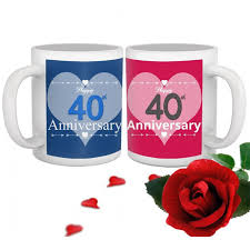 40th marriage anniversary gift set of 2 printed coffee mugs with rose
