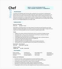 Culinary Resume Template Executive Chef Professional Cook Example