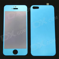 mat mirror tempered glass front back protectors for iphone 5 5s 5c blue