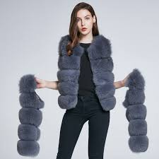 Winter Jacket Fox Fur Vest Real Leather Coat <b>Natural Fur Fox Coat</b> ...