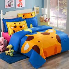 orange blue and brown cartoon giraffe print jungle safari animal kids and teen 100 cotton twin full size bedding sets