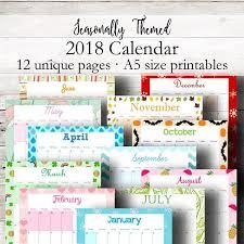 monthly 2018 calendar a5 printable calendar 2018 printable