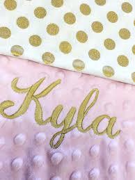 Baby Boos Designs Gold Polka Dot Baby Blanket Pink Gold Polkadot Cotton Baby