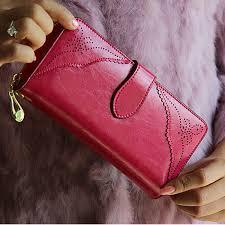 100 oil waxing cowhide wallet for women long designer multi card wallet holder women leather genuine purse free