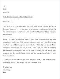 Letter Of Recommendation Teacher Character Reference Letter For Scholarship On Sample