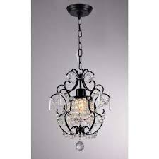 ava 11 in black indoor crystal chandelier with shade