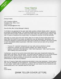 Example Cover Letter For Bank Teller Job Adriangatton Com