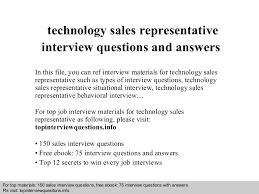 Technology Sales Resume Technology Sales Representative Interview Questions And Answers
