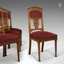 set of 4 dining chairs. Antique Set Of 4 Dining Chairs, Liberty Taste, English, Oak, Edwardian C Chairs