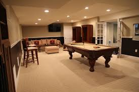 Fancy Basement Game Room Ideas With Wooden Pool Table And Cream Sectional  Sofa As Well As Ceiling Lights Decors In Contemporary Man Room Ideas