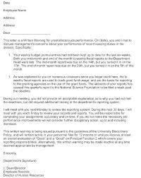 Employee Performance Letter Sample Needless Employee Write Up Sample For Poor Performance