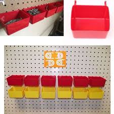 Pegboard storage bins Hanging 16 Pack Hanging Pegboard Bin Tool Parts Tray Home Storage Organizer Plastic Bins Kerrisdaleinfo 16 Pack Hanging Pegboard Bin Tool Parts Tray Home Storage Organizer