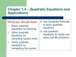 chapter 1 4 quadratic equations and s what you should learn 1