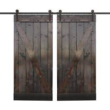 dark chocolate stain wood double barn door with sliding