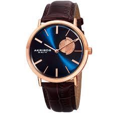 akribos iv mens ak848rgbu blue dial rose gold and brown leather strap watch