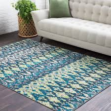 details about oakesdale ikat green blue 2 x 3 area rug