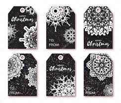 Black Christmas Labels With Origami White Snowflake Stock Photo
