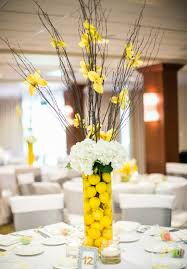 Stunning Wedding Table Decoration With Yellow Centerpiece Decor : Comely  Picture Of Yellow Wedding Decoration Design