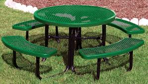 full sized green circular picnic table forest green