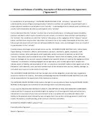 """Liability Release And Waiver Form €"""" Minors - Jamspiritsites.com"""