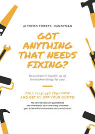 free handyman flyer template gold illustrated handyman flyer templates by canva