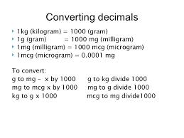 Mg To Mcg Conversion Chart Administrating Medications And Drug Calculations