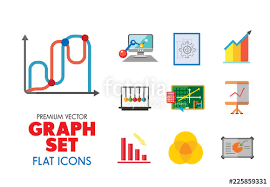 Smartboard Venn Diagram Graph Icon Set Magnifier And Graph Growing Bar Chart Declining Bar