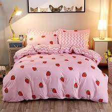 3 cute strawberry bedding set polyester