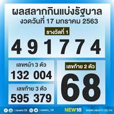Newtv18 - ผลสลากกินแบ่งรัฐบาล งวดวันที่ 17 มกราคม 2563...