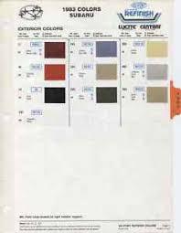 Details About 1983 Subaru Dl Gl Glf And Brat Color Paint Chips Chart