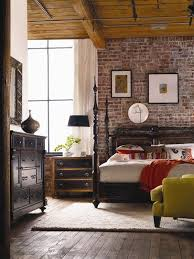 vintage furniture and modern exposed brick wall bedroom decor bedroomterrific eames inspired tan brown leather short