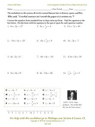 standard form of a linear equation worksheet answer key writing linear equations worksheet answer key