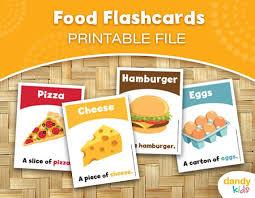 Food Flash Cards Food Flashcards Printable Flashcards Set Of 14 Etsy