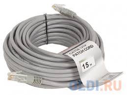 "<b>Патч</b>-<b>корд литой</b> ""<b>Telecom</b>"" <b>UTP</b> кат.5е 15,0м серый NA102--15M ..."