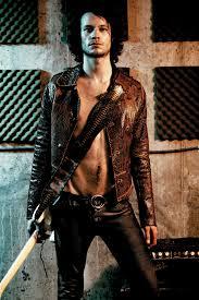male model wears hand made a lost art python snakeskin jacket a lost
