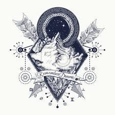 Fototapeta Hory Tetování Symbol Cestovního Ruchu Dobrodružství Meditace