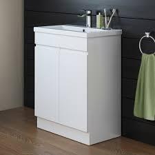 rhodes pursuit mm bathroom vanity unit: shower  mm trent high gloss white basin cabinet floor standing close up view mv v