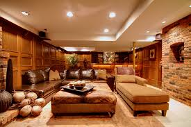 stickley furniture s basement eclectic with area rug brick walls ceiling lighting chaise