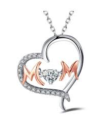 caperci sterling silver and rose gold two tone mom heart pendant necklace with cubic