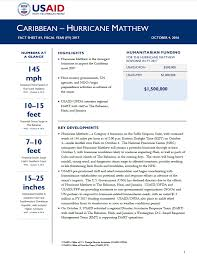 caribbean hurricane matthew fact sheet 1 october 4 2016