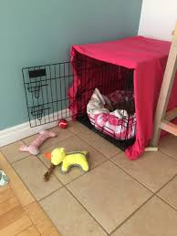 How to make a dog crate Pet Kennel Annabelle Is Cratetrained So While She Sleeps In Our Bed At Night like Snuggly Little Hot Water Bottle She Goes Into Her Crate Whenever We Leave The Heathers Handmade Life Diy Dog Crate Cover