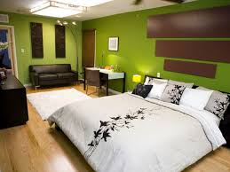 charming lime green upholstered queen bed with green cube wall