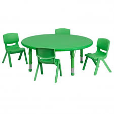45 round adjule green plastic activity table set with 4 school stack chairs jpg