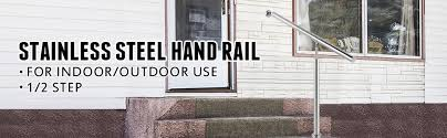 This listing will work for 2 steps with a post at the top and bottom. Outdoor Stair Railing Step Handrail Stainless Steel Rail One Step Well Polished 8677512372196 Ebay
