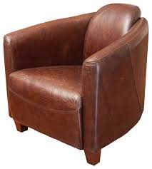rocket brown top grain leather club chair