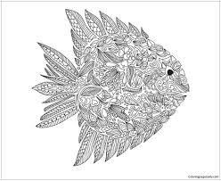Small Picture Fish Zentangle Coloring Page Free Coloring Pages Online