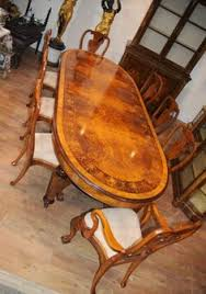 e view this for yourself in our hertfordshire showroom gorgeous victorian style burr walnut dining table with matching set of queen anne style chairs