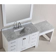 design element london 78 inch single sink white vanity set with makeup table and bench seat free today com 16686431
