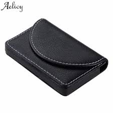 aelicy fashion leather business card case for men credit card package double open id card holder business card case holders