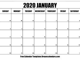 Free Printable January 2020 Calendar By Dreamcalendarscom